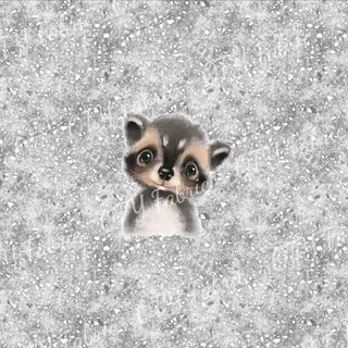 Raccoon on grunge panel