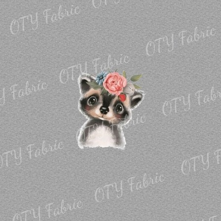 Floral raccoon on marle panel