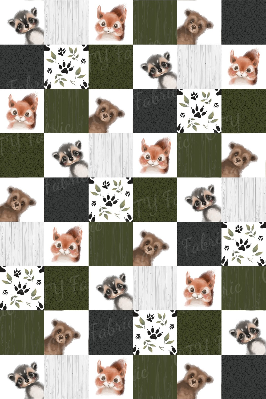 Cute woodland creatures faux quilt