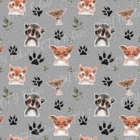 Cute Animals on Grey Marle