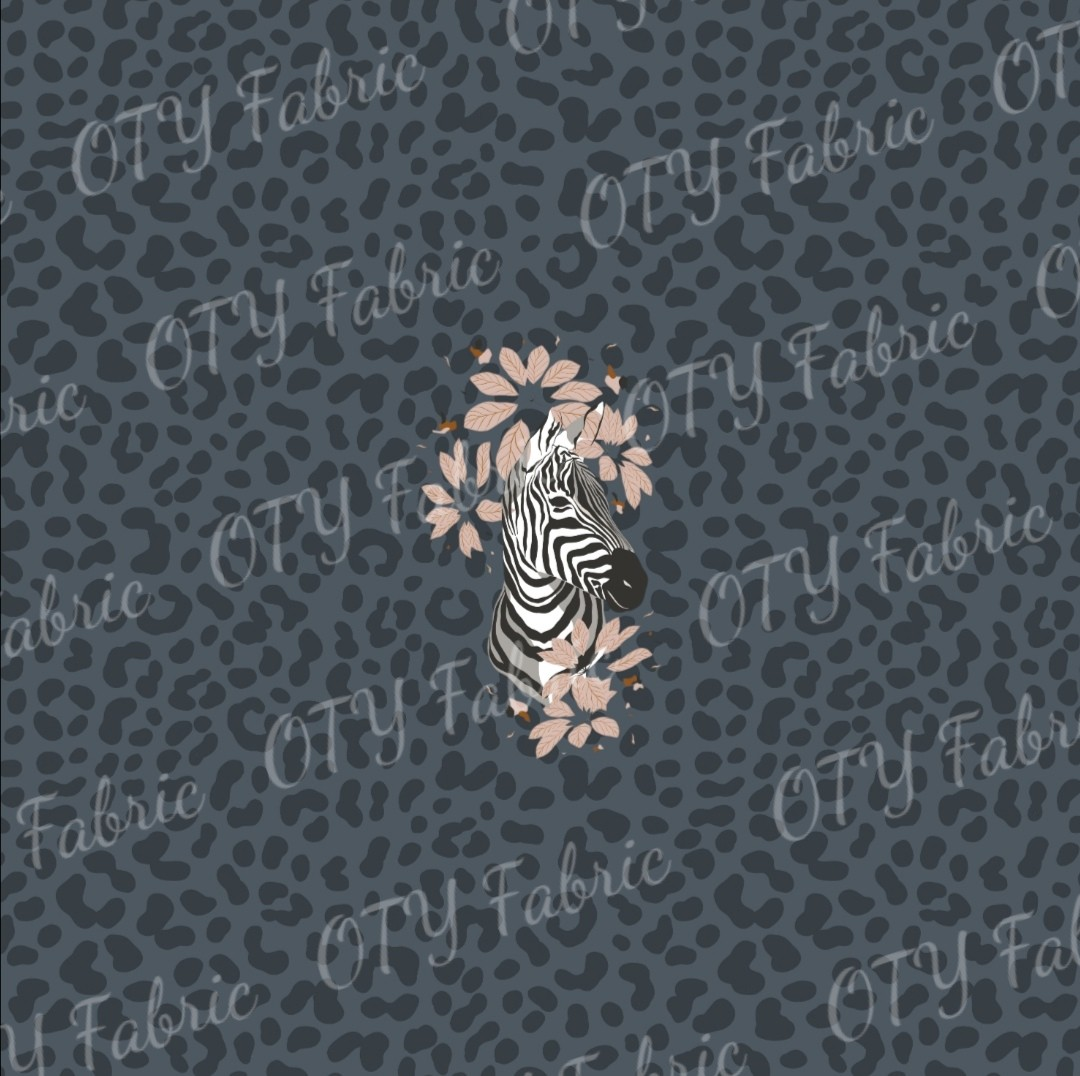 Zebra Bloom on Denim Leopard spot