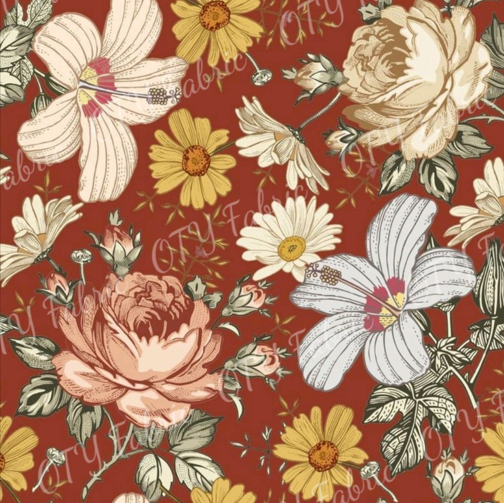 Victorian floral on terracotta