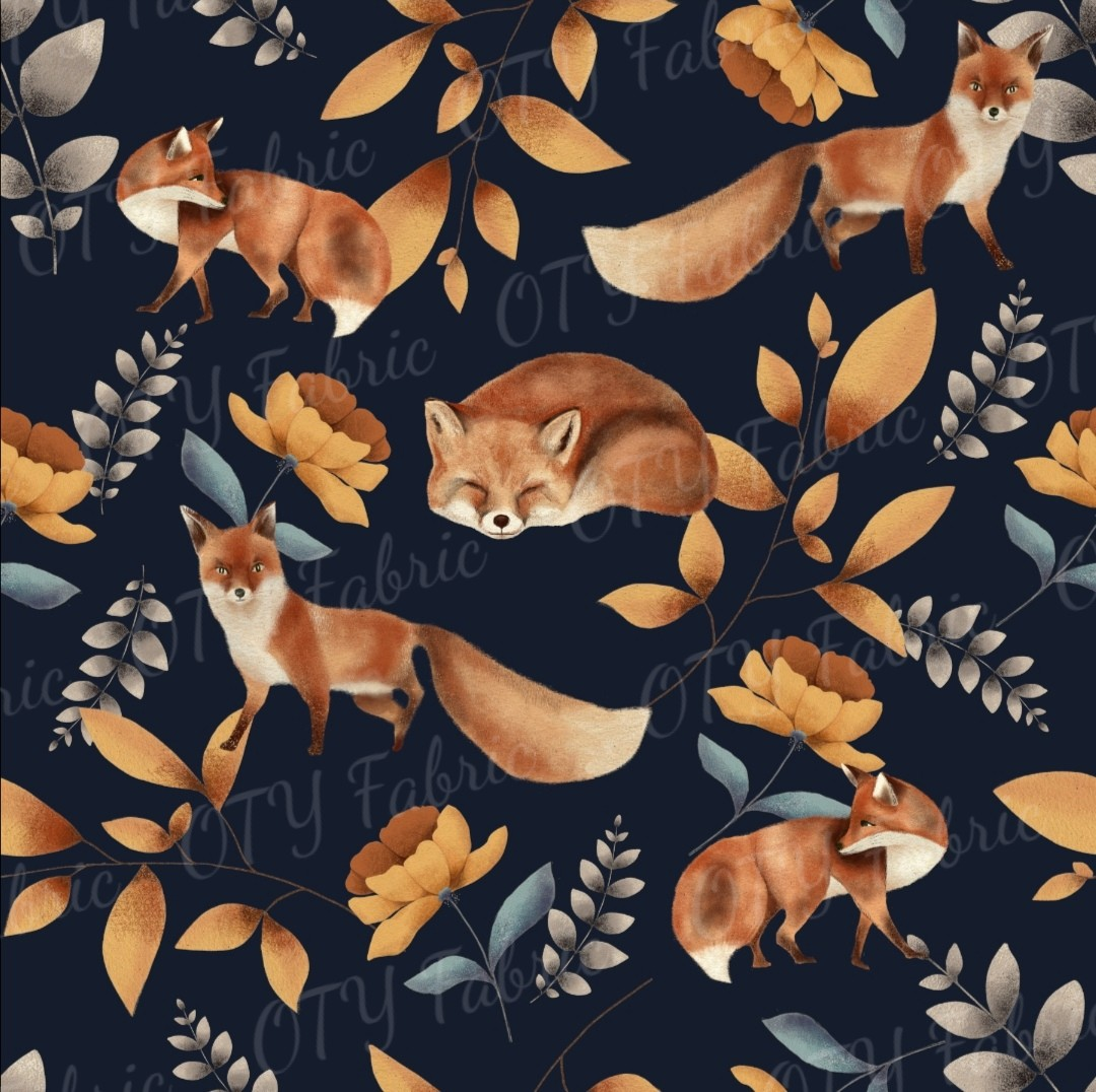 Watercolour foxes on Navy