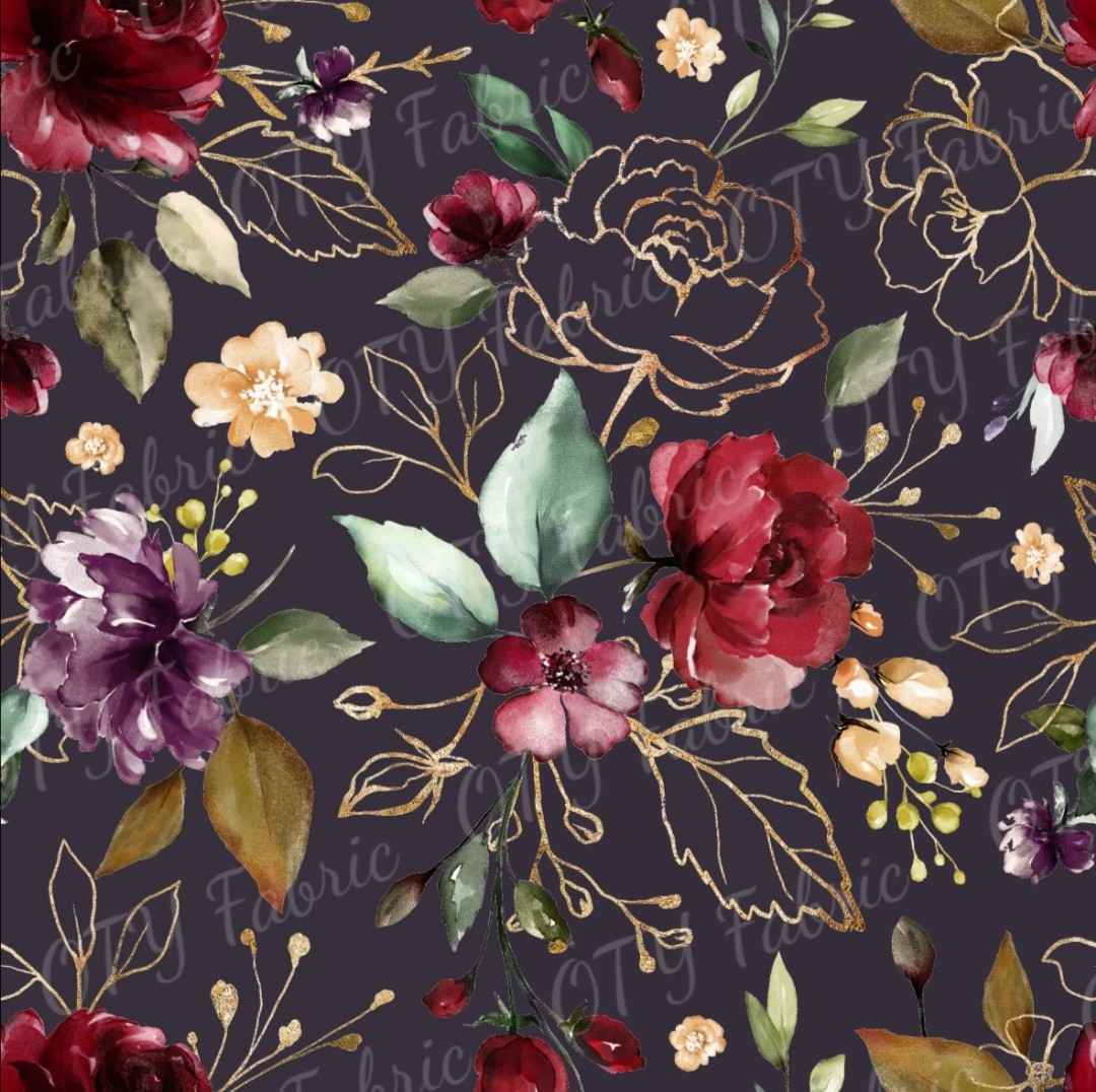 Burgundy floral on fig