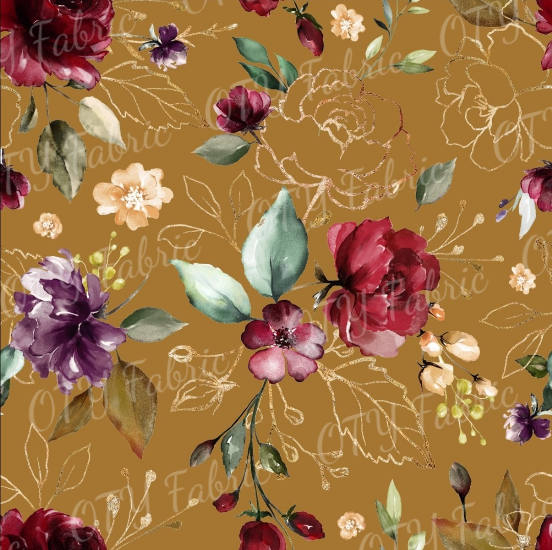 Burgundy floral on ochre