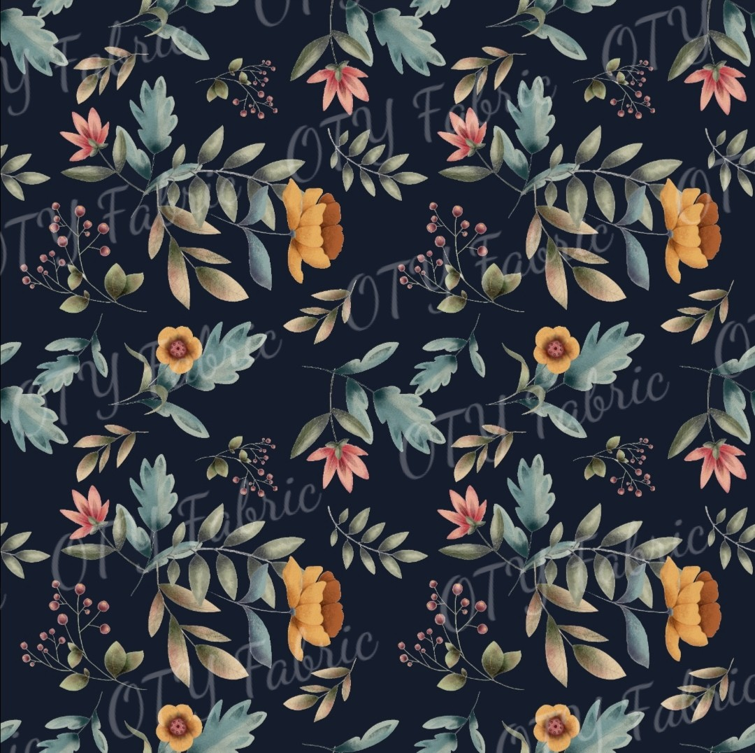 Autumn floral on navy